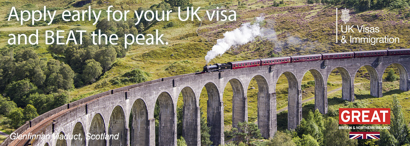 Apply early for your UK visa and beat the peak. Image of Glenfinnan Viaduct, Scotland.